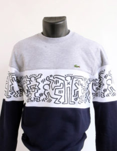 Sweat Lacoste x Keith Haring gris et marine