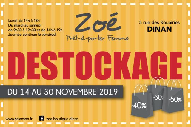 Destockage chez Zoé du 14 au 30 novembre